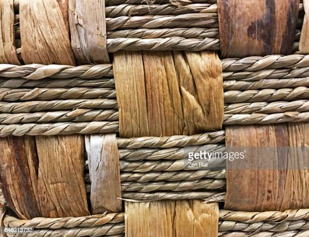 Extreme close-up of a woven straw basket