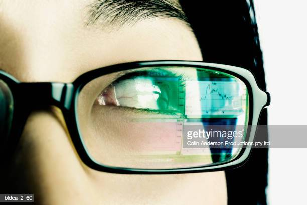 Extreme close-up of a young woman wearing eyeglasses