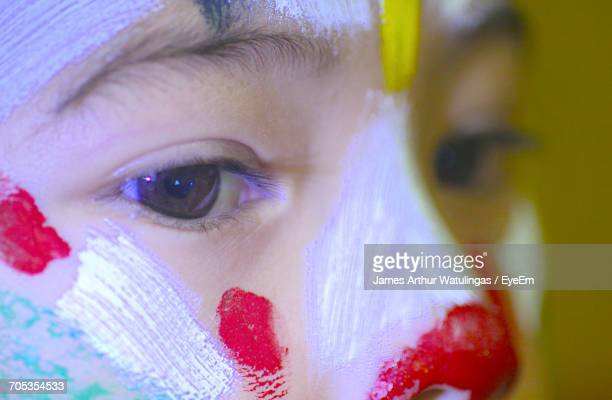 Extreme Close-Up Of Boy With Face Paint