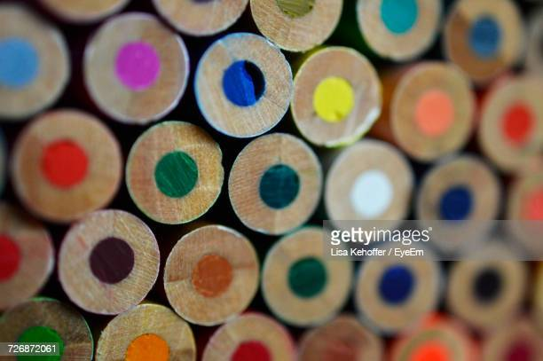 Extreme Close-Up Of Colored Pencils For Sale In Store