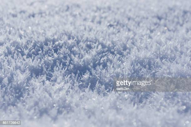 Extreme close-up of ice crystals on snow, Upper Bavaria, Germany