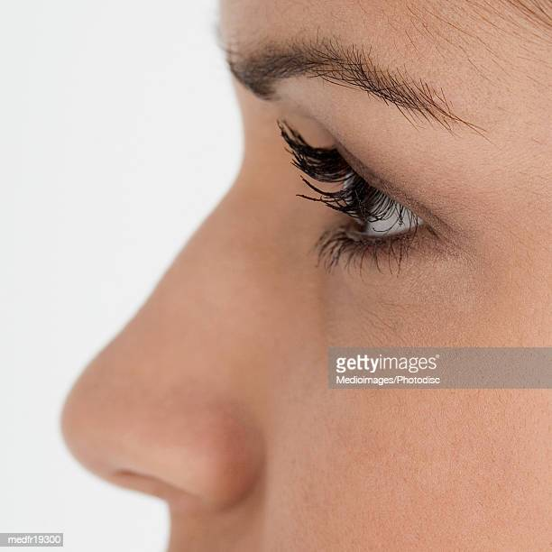 Extreme close-up of woman's profile, part of
