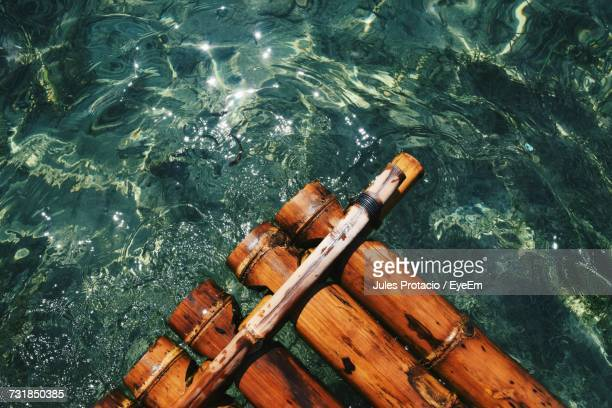 Extreme Close-Up Of Wooden Raft In Water