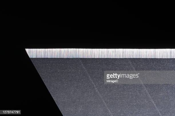 extreme close-up view of sharp blade - utility knife stock pictures, royalty-free photos & images