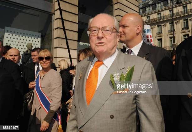 Extreme farright National Front party leader Jean Marie Le Pen attends a rally on May 1 2009 in Paris France Leader Jean Marie Le Pen spoke at the...