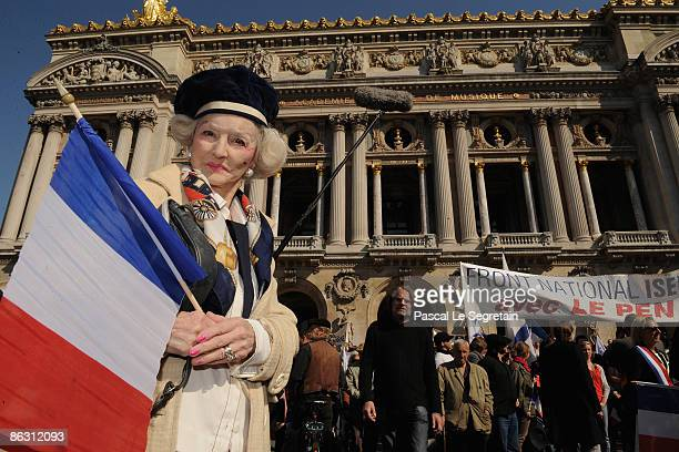 Extreme farright National Front party supporter attends a rally on May 1 2009 in Paris France Leader Jean Marie Le Pen spoke at the end of the French...