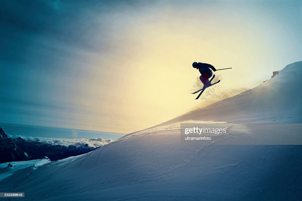 Extreme   Freestyle snow skier  jumping   Off pist  back country skiing : Stock Photo