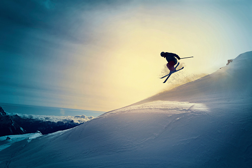 Extreme   Freestyle snow skier  jumping   Off pist  back country skiing 533399649