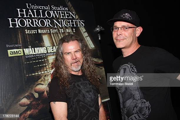 Extreme horror makeup artist Larry Bones and Creative director John Murdy attend the Universal Halloween Horror Nights media makeup kick off held at...