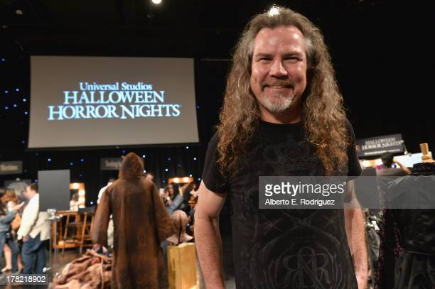 "Extreme horror make-up artist Larry Bones attends Universal Studios' ""Halloween Horror Nights"" media make-up kick-off at The Globe Theatre on August..."