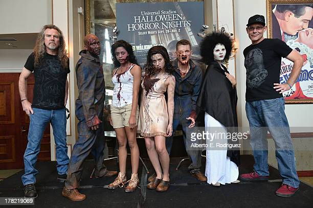 "Extreme horror make-up artist Larry Bones , zombies and ""Halloween Horror Nights"" creative director John Murdy attend Universal Studios' ""Halloween..."