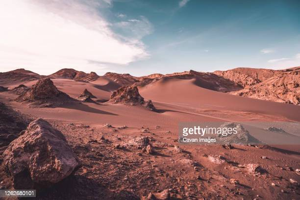extreme mars-like arid landscape in atacama desert - desert stock pictures, royalty-free photos & images