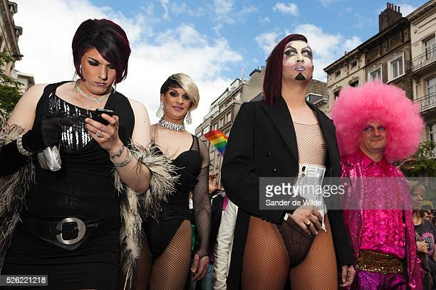 Extreme Participants of a gay pride parade in Brussels