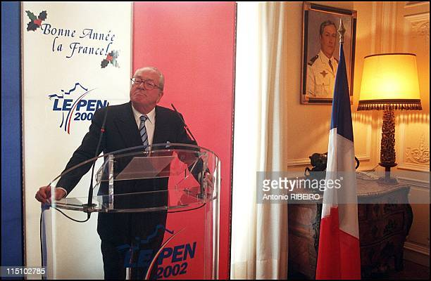 Extreme right wing National Front party leader Jean-Marie Le Pen presents his best wishes for the year 2002 to the press in Saint Cloud, France on...