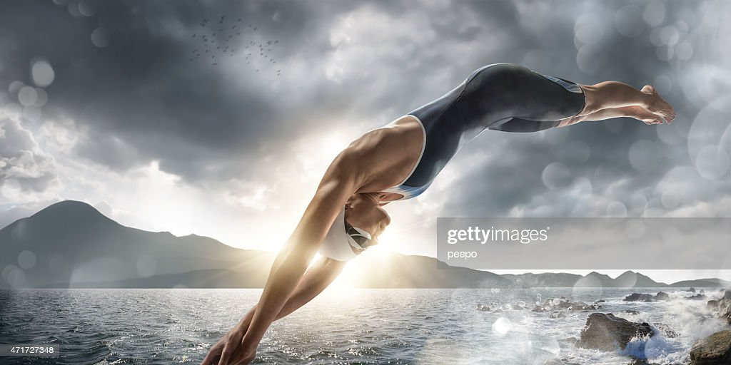 Extreme Sea Swim : Stock Photo