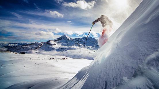 extreme skier in powder snow 869482458