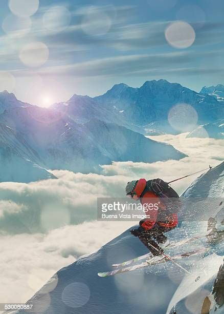 extreme skier  jumping on a snowy slope - winter sport stock pictures, royalty-free photos & images