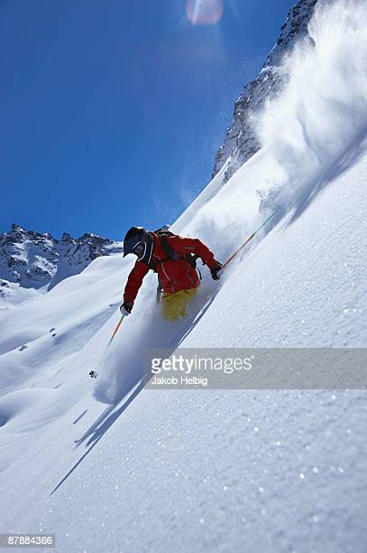 extreme skier on mountainside - courchevel stock pictures, royalty-free photos & images