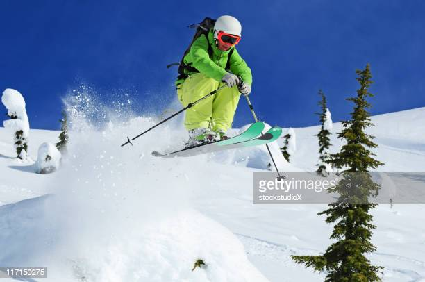 extreme skier - downhill skiing stock pictures, royalty-free photos & images