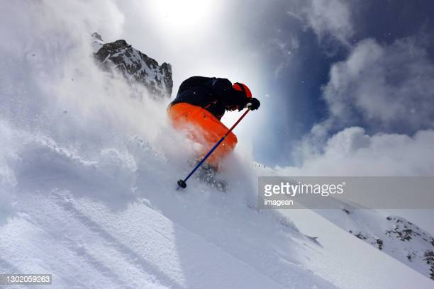 extreme skiing in st. anton, austria - scandinavian ethnicity stock pictures, royalty-free photos & images