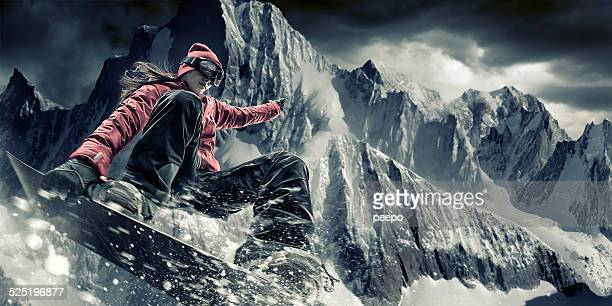 extreme snowboarding girl - boarding stock pictures, royalty-free photos & images