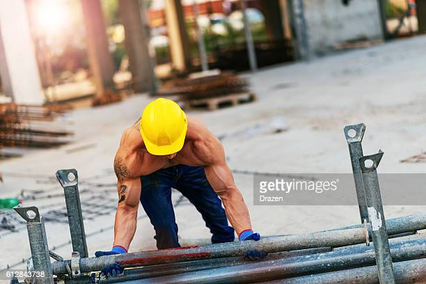 Extreme strength for young male worker