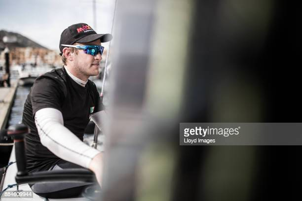 Extreme Team Mexico skipper Erik Brockmann during the Extreme Sailing Series on December 2 2017 in Isla San Jose Mexico