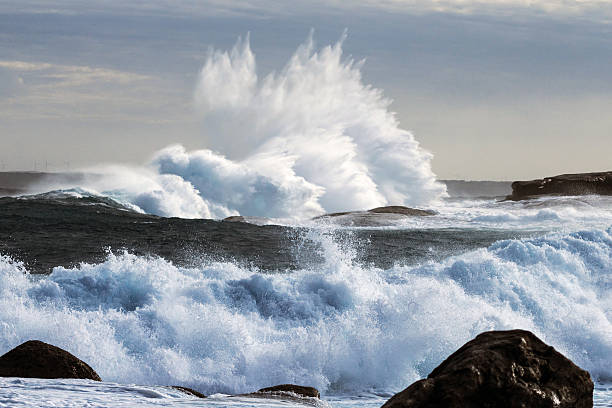 Extreme Weather With Waves Crashing On Coast Wall Art