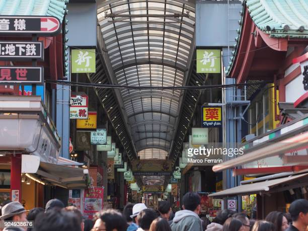 Extremely Busy Shopping Street in Asakusa Area, Tokyo, Japan