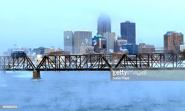 Extremely frigid temperatures cause steam to rise above the Des Moines River January 9 2010 in downtown Des Moines Iowa The Midwest is bracing for...