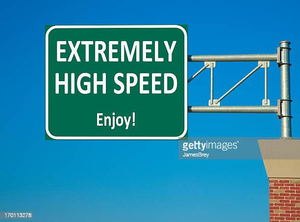 extremely high speed highway sign - speed limit sign stock photos and pictures