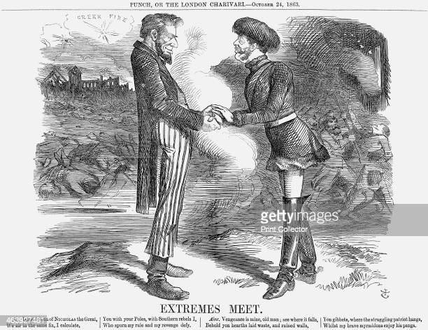 'Extremes Meet' 1863 This cartoon depicts Abraham Lincoln on the left and Alexander II on the right shaking hands across the divide and with fighting...
