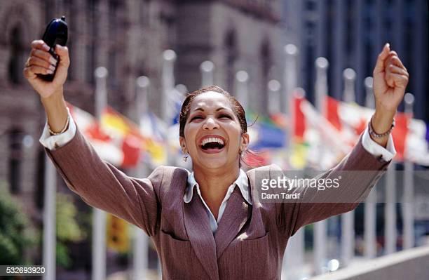 Exuberant businesswoman