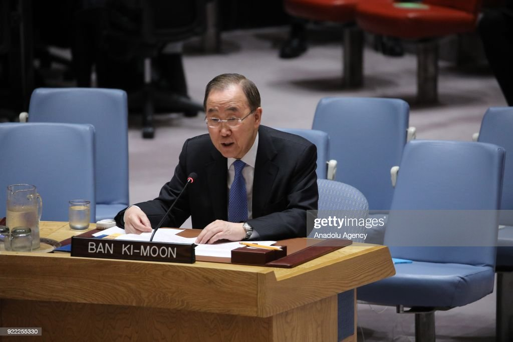 Ex-UN chief Ban Ki-moon makes a speech as he attends the United Nations Security Council meeting, held with the agenda for ensuring international peace and security, in New York, United States on February 21, 2018.