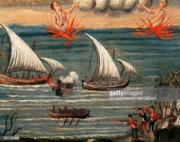 Exvoto depicting a pirate raid along the Tyrrhenian coast Sanctuary of the Madonna dell'Arco St Anastasia Campania Italy 18th century