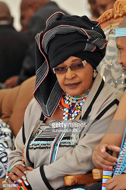 Exwife of Nelson Mandela Winnie MadikizelaMandela dressed in her traditional Xhosa tribe looks on during a gathering of traditional leaders' in...