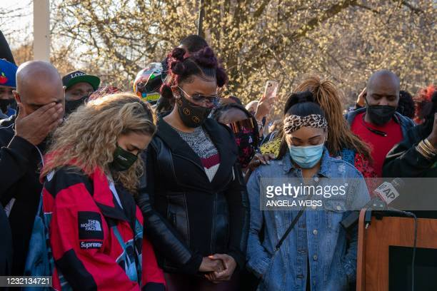 Ex-wife Tashera Simmons and fiancee Desiree Lindstrom surrounded by friends of hospitalized rapper Earl Simmons, aka DMX, attend a prayer vigil...