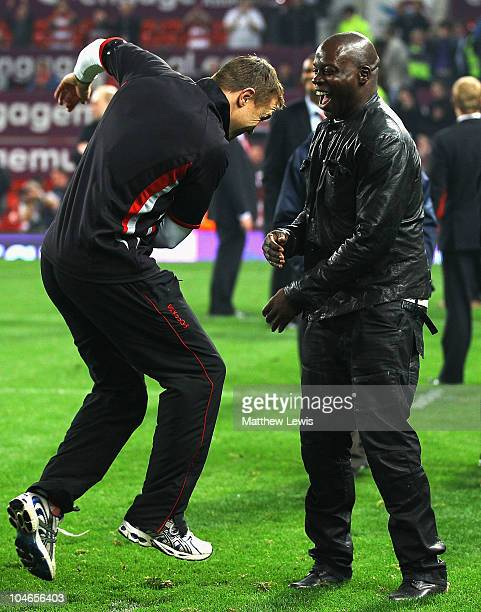 ExWigan Warriors players Chris Radlinski and Martin Offiah celebrate Wigan wins over St Helens during the engage Super League Grand Final match...