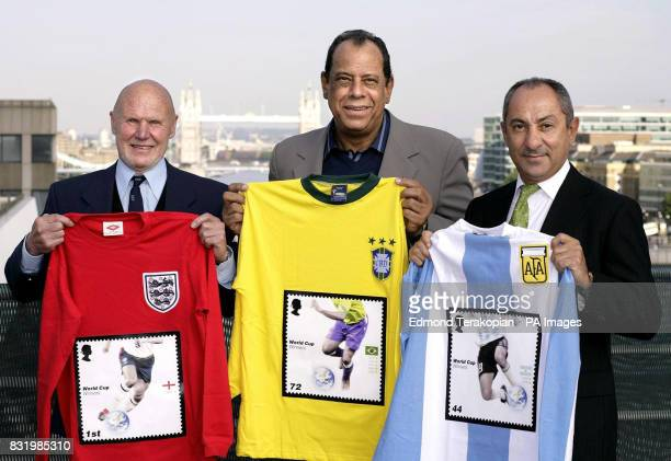 ExWorld Cup winning footballers Ray Wilson Carlos Alberto and Ossie Ardiles celebrate the beautiful game with the launch of Royal Mail's World Cup...