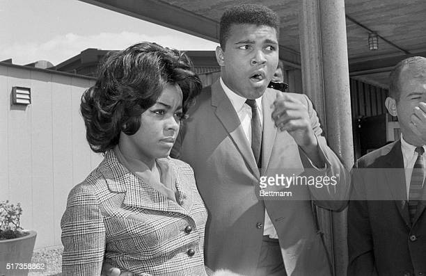 ExWorld Heavyweight Champion Muhammad Ali and wife Sonji Roi arrive at La Guardia Airport from Boston in 1964 Ali arrived to train for his fight with...