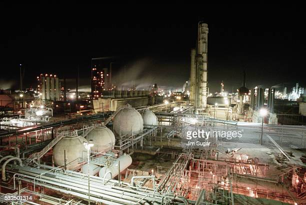 Exxon Oil Refinery at Night