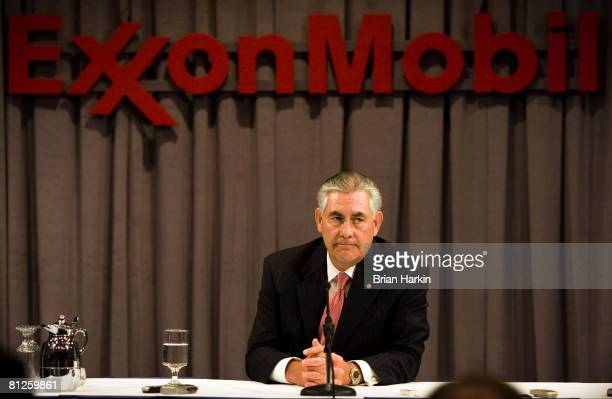 ExxonMobil Chairman Rex Tillerson speaks at a press conference after the ExxonMobil annual shareholders meeting at the Morton H Meyerson Symphony...