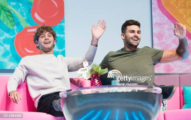 Eyal Booker and Adam Collard during the 'Love Island Live' photocall at ICC Auditorium on August 10 2018 in London England