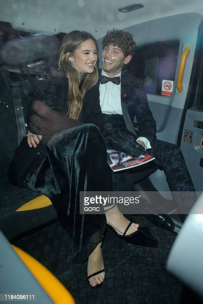 Eyal Booker and Delilah Belle Hamlin seen leaving the Pride of Britain Awards at the Grosvenor hotel in Mayfair on October 28 2019 in London England