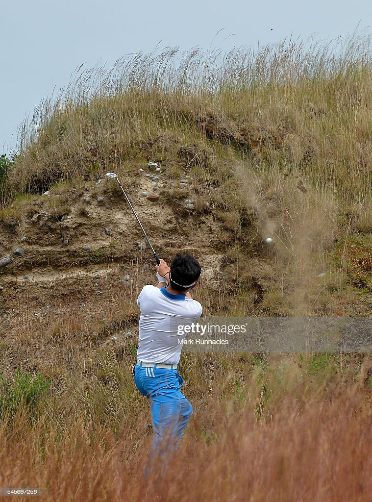 Yang of Korea second shot to the 7th from the sand dunes left of the fairway during the third round of the AAM Scottish Open at Castle Stuart Golf Links on July 9, 2016 in Inverness, Scotland.
