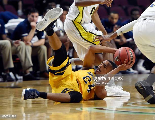 Eyassu Worku of the UC Irvine Anteaters grabs a loose ball against the Northern Arizona Lumberjacks during the 2017 Continental Tire Las Vegas...