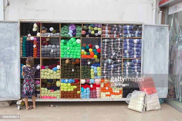 Eye catching street display of wool