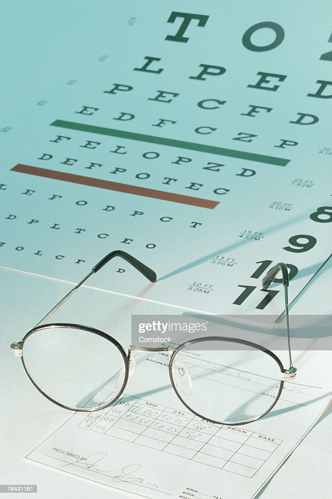 Eye Chart With Glasses And Prescription Stock Photo - Getty Images
