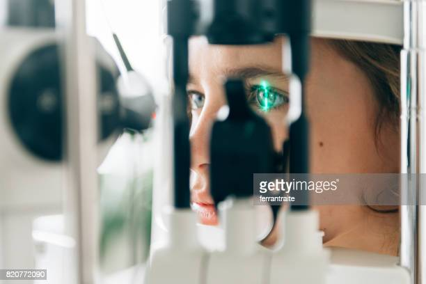 eye check up - biometrics stock photos and pictures