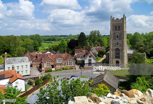 eye church seen from eye castle - suffolk england stock photos and pictures